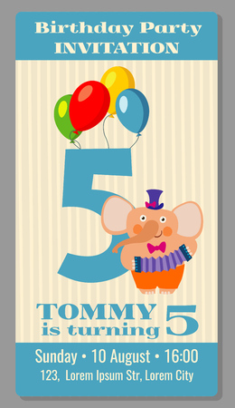 birthday party kids: Kids birthday party invitation card with funny elephant. Vector illustration Illustration