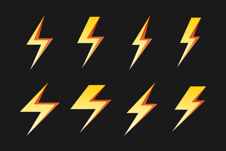 Set of yellow lightnings isolated over black for forecast icon. Vector illustration