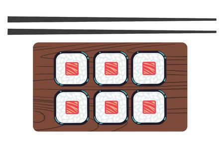 chopsticks: Sushi and chopsticks vector illustration. Japanese food and traditional dinner Illustration