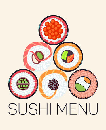 Japanese restaurant sushi menu template. Asian menu with roll, vector illustration Illustration