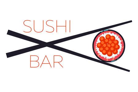 japanese meal: Sushi bar food logo vector template. Japanese meal with chopsticks illustration