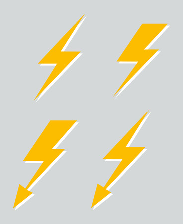 Set of four vector lightnings isolated on gray background illustration Illustration