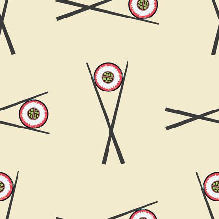 chopsticks: Sushi and chopsticks vector seamless pattern. Background with roll illustration Illustration