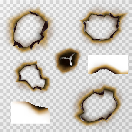scorched: Burnt hole in paper or pergament, scorched paper vector set. Damage edge and destroyed sheet illustration