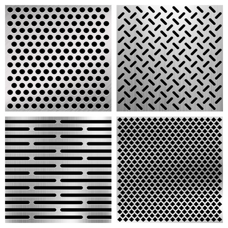 Industrial metal perforated vector textures, metallic grids set. Surface panel with holes illustration