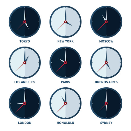 timezone: World clocks for time zones of different cities vector set. Travel to country with other timezone illustration Illustration