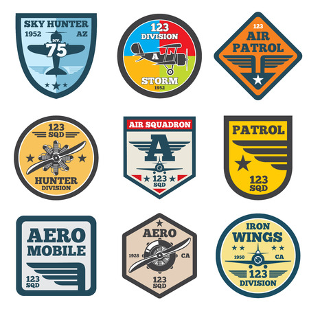 creative force: Army jet, aviation, air force vector labels, patch badges, emblems set. Badge shield with wing illustration Illustration