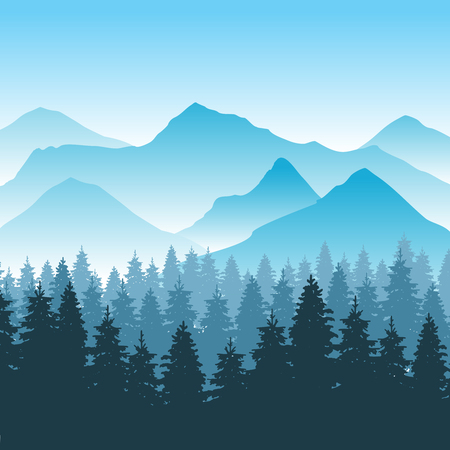 Abstract hiking adventure vector background with mountain and forest. Nature park for travel outdoor illustration