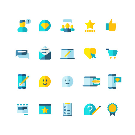 opinion: Customer service, clients loyalty, ranking, review flat vector icons set. User comment and opinion feedback illustration