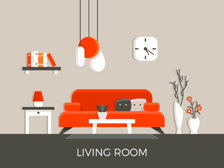 view of an elegant red couch: Modern home living room interior with furniture vector illustration. Lamp and sofa in apartment house
