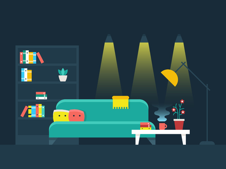 lighting: Living room interior flat vector illustration. Bookcase and lighting comfortable apartment