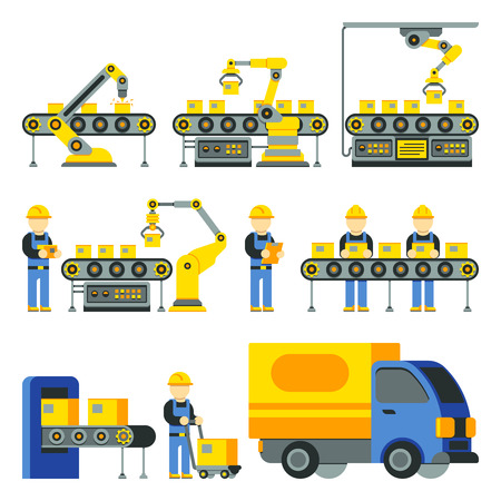 Manufacturing process with production factory line vector flat icons. Factory equipment and industrial technology line illustration Imagens - 64789464