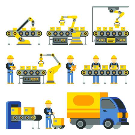 Proces produkcji z fabryki linii produkcyjnych wektora płaskie ikony. Sprzęt fabryczny i przemysłowa linia technologii Ilustracje wektorowe