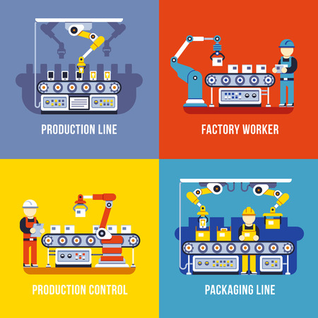 Manufacturing industry, production line, factory worker vector flat concepts set. Manufacture and management conveyor illustration Illustration