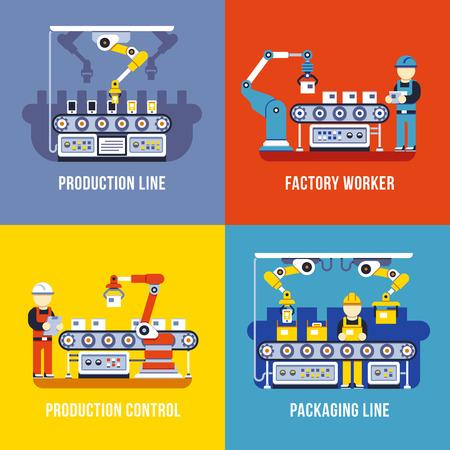 Verwerkende industrie, productie-lijn, fabrieksarbeider vector flat concepten te stellen. Productie en beheer transportband illustratie