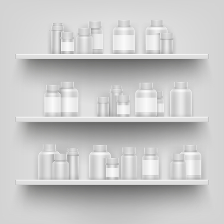 Realistic white 3d medicine blank bottle for pills on pharmacy shop shelves display vector template. Set of containers for medication and drugs illustration