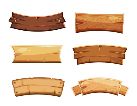 Cartoon wood blank banners and ribbons, western signs vector set. Wooden banner and vintage frame plank illustration Ilustração