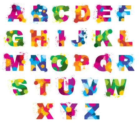 Letters alphabet painted by color splashes vector font. Abc watercolor illustration 矢量图像