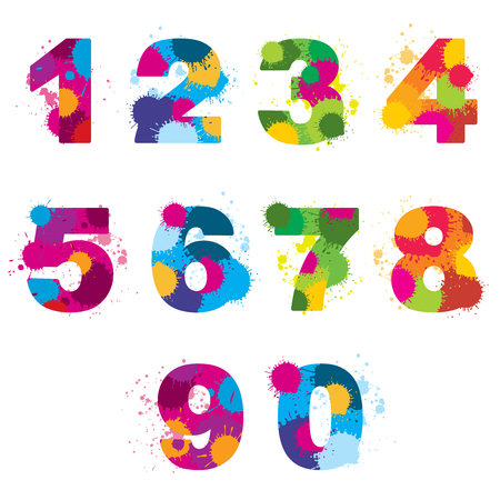 arithmetic: Vector numbers painted by colorful splashes. Rainbow arithmetic signs illustration