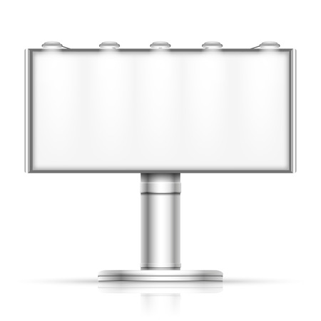 outdoor blank billboard: Advertising outdoor blank billboard isolated on white vector mockup. Street banner for promotion illustration