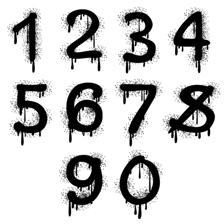 arithmetic: Grunge vector numbers with splatter text effect. Arithmetic figure for education illustration