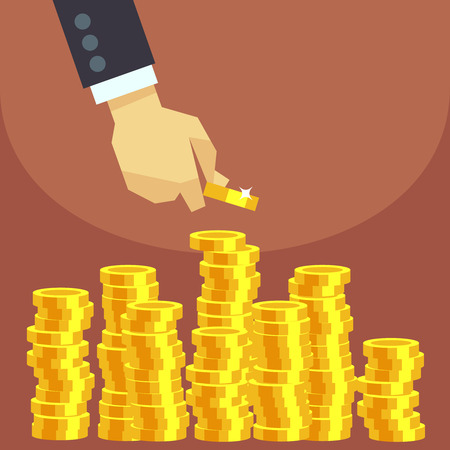 Hand put gold coins to stack vector business finance concept. Investment financial and growth money illustration