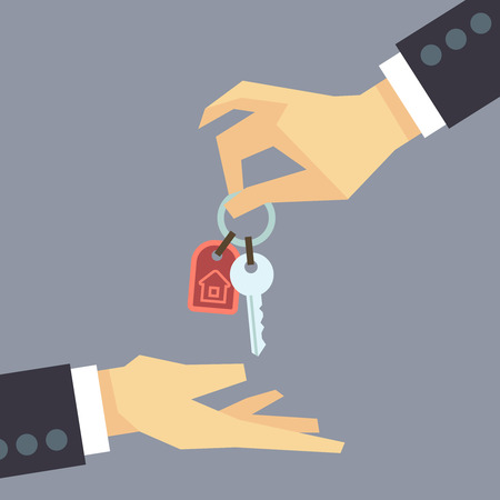 proprietor: Hand giving house keys. vector real estate, buying house concept. Sale house illustration