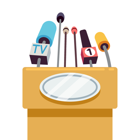 tribune: Tribune with microphones for conference and speech to public. Vector illustration