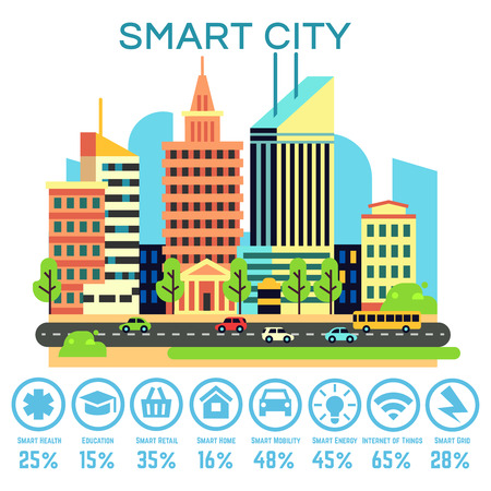 smart: Vector smart city concept with business smart technology icons. Transportation and automatic and connect equipment illustration