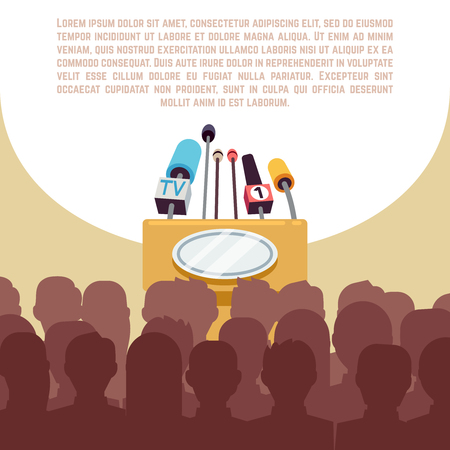 briefing: Rostrum, tribune with microphones in spotlight on stage vector illustration. Political conference banner, reportage and briefing