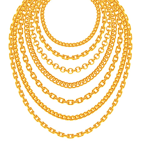 necklaces: Golden metallic chain necklaces vector set. Gold fashion luxury decoration illustration Illustration