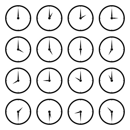 World clock, time zone vector icons. Travel and clock face to asia, europe and america illustration 矢量图像