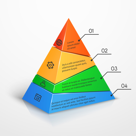 Layers hierarchy pyramid chart vector presentation infographic template. Color level with number illustration Illustration