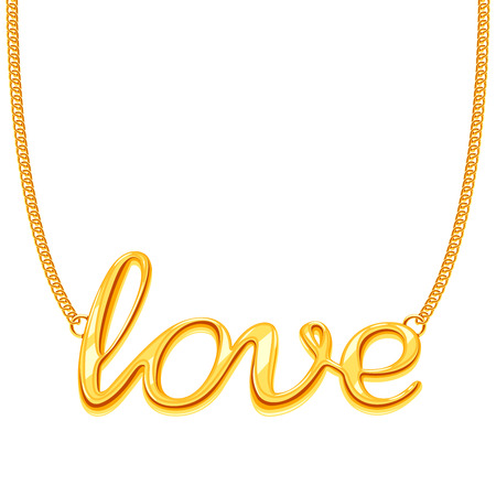 Gold chain necklace with LOVE word pendant vector illustration. Golden decoration jewellery
