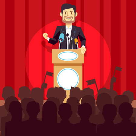 Business leadership vector concept with speaker businessman, politician on the podium. Person speech on conference illustration Illustration