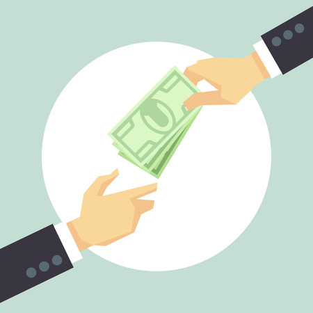 Hand giving money. Donation, charity, payment vector concept. Corruption and donate concept, help cash illustration