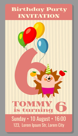 birthday party kids: Kids birthday party invitation card with funny hedgehog. Vector illustration