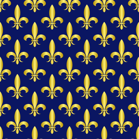 Golden fleur de lis royal lily vector seamless pattern. Vintage royal ornament illustration Illustration