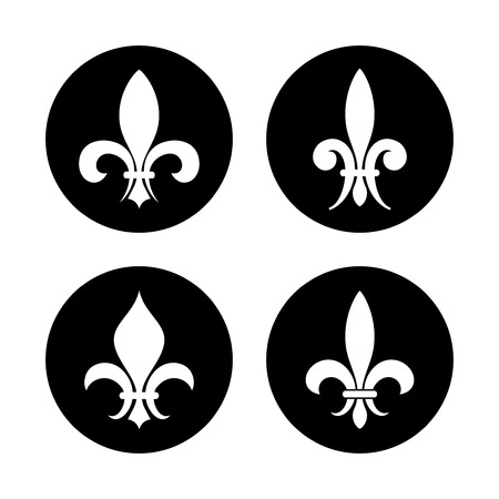 Fleur de lis vector set in black and white isolated in round form illustration