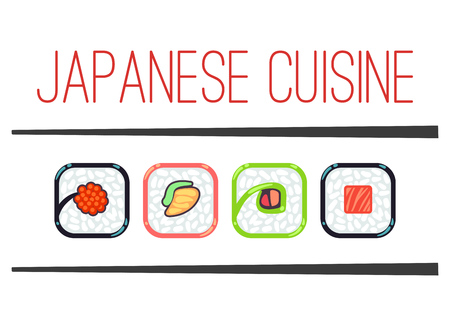 japanese cuisine: Japanese cuisine restaurant template. Traditional seafood menu, vector illustration
