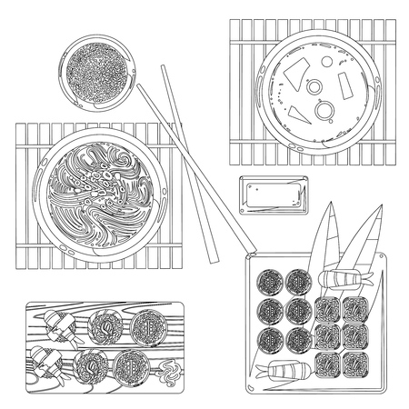 Japanese food vector contour drawing in black and white. Restaurant traditional food sketch illustration