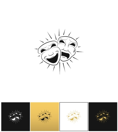 comedy background: Theatrical comedy and tragedy masks vector icon. Theatrical comedy and tragedy masks program on black, white and gold background