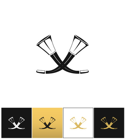 posthorn: Crossed hunting horns vector icon. Crossed hunting horns pictograph on black, white and gold backgrounds Illustration