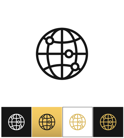 gold earth: Internet globe earth world vector icons on black, white and gold backgrounds