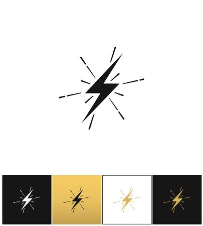 thunderbolt: Lightning thunderbolt sign or strike electric bolt vector icons on black, white and gold backgrounds Illustration