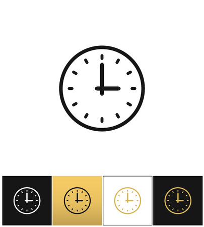 Clock sign or simple time vector icons on black, white and gold backgrounds Illustration