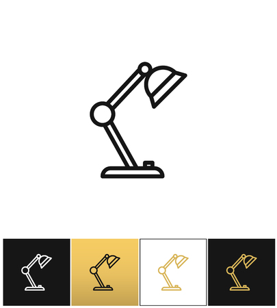pendant lamp: Table lamp sign or desk office lamp vector icons on black, white and gold backgrounds