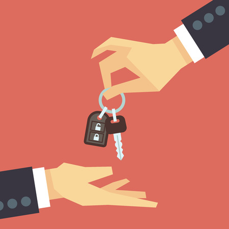 new automobile: Hand giving car key to other hand. Vector car rent and sale flat concept. Deal with customer, buy new automobile illustration
