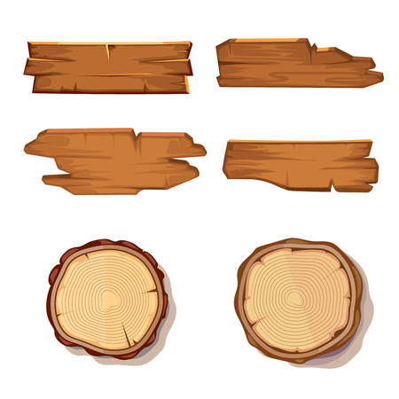 Old wooden vector planks and saw cut tree trunk isolated on white. Wood board texture, stump rough illustration