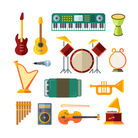 Music instrument flat vector icons. Guitar and piano, trumpet and microphone illustration